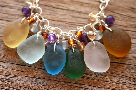 Sea Glass Jewelry Multi Color Cluster Necklace Gemstones Sterling Silver