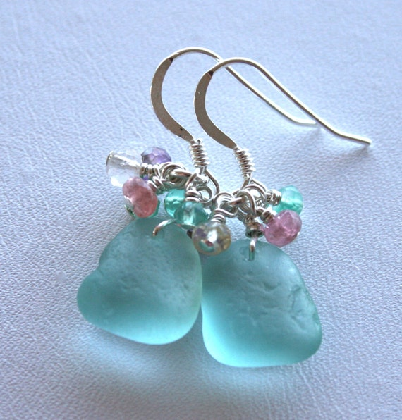 sea glass jewelry aqua earrings tourmaline stelring