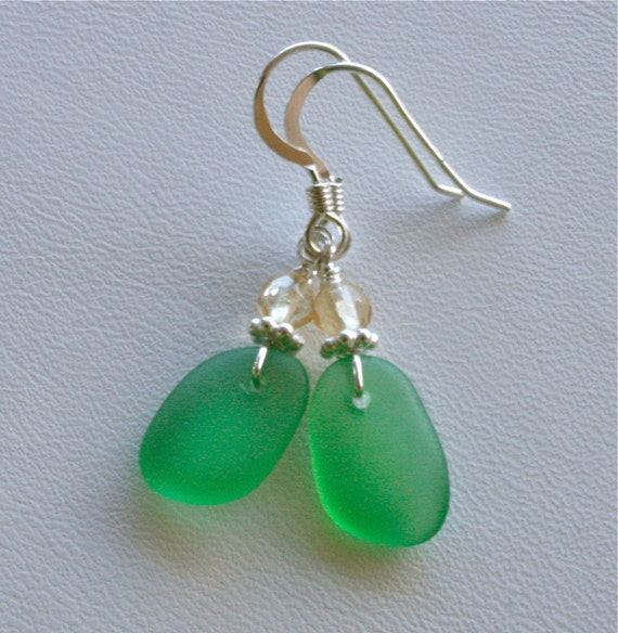 Sea Glass Jewelry Emerald Green Earrings Citrine Sterling Silver