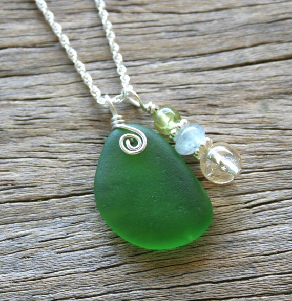 Sea Glass Necklace Kelly Green Citrine Aquamarine Peridot Sterling Silver