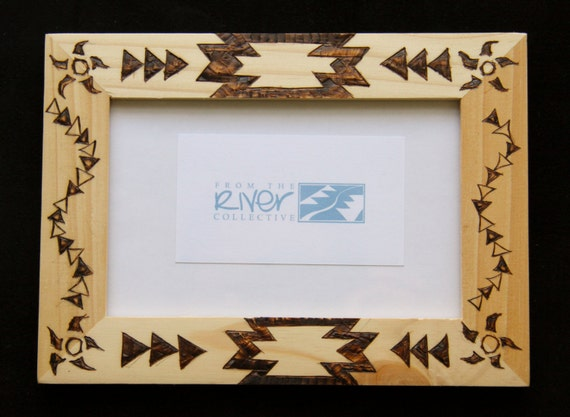 Photo Frame Burned With Native American Indian Designs By