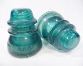 Pair of Aqua Glass Antique Insulators
