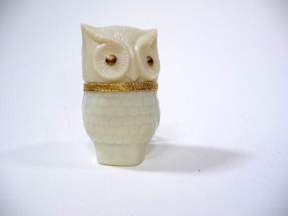 RESERVED for Collette Vintage Avon Milk Glass Owl Perfume Bottle