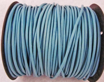 BULK, 2mm, 50 Meter Spool, Round Leather Cord, Natural, Turquoise Color, Jewelry, Supplies