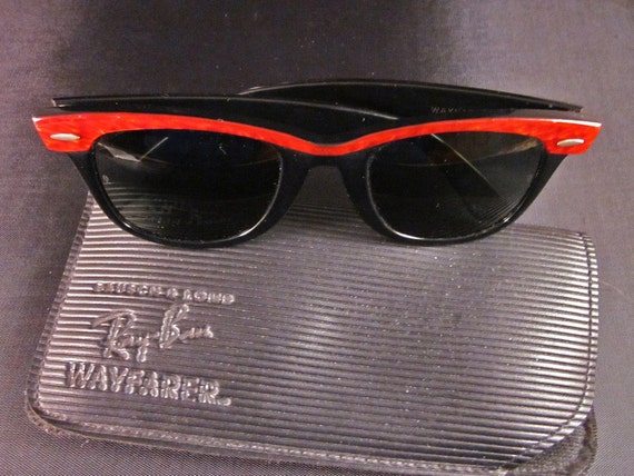 Vintage, Red Ray-Ban Wayfarer Sun Glasses, Bausch & Lomb, Unisex, Hip Hop, Retro, Rock and Roll