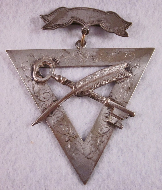Vintage, Order of The Knights of Pythias, Secret Society Triangle Pin, Medallion, Medal, Fraternal Order, Jewelry, Steampunk