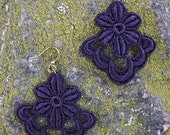 Floral Lace Purple Earrings