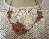 Rose Pink Lace Necklace with Chain Detail