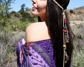 Hippie Inspired Feather Headbands with Braided Suede Leather & Wood Beads