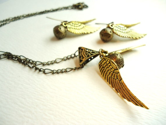 Steampunk Bronze Orb & Gold Wings Necklace and Earrings Set