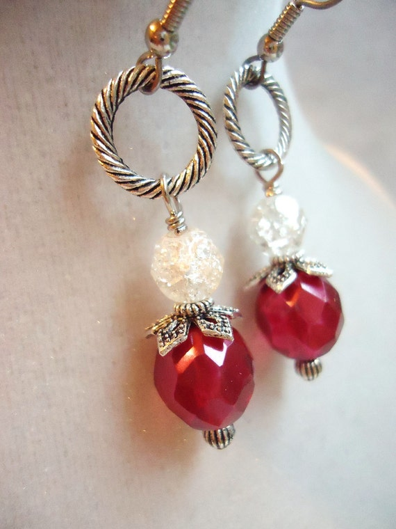 SALE Layered Silver Dangly Earrings With Fuschia Czech Glass