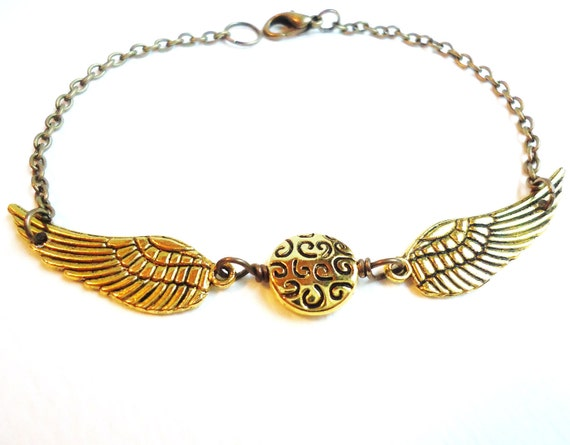 Flying Gold or Bronze Orb & Gold Wing Bracelet, Nerdy Gifts, Steampunk Jewelry