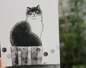 Cat ACEO mixed media Original - In the box