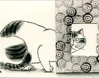 Cat ACEO mixed media Original - Peeping 3