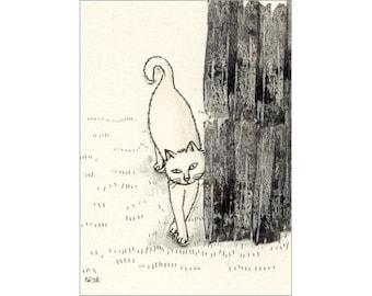 Cat ACEO mixed media Original - Rubbing