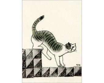 Cat ACEO mixed media Original - Yukkurioriru