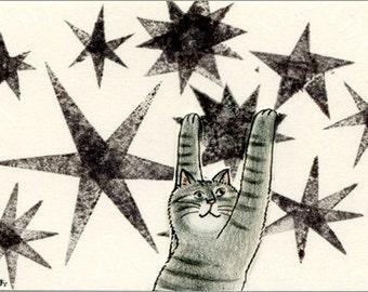 Cat ACEO mixed media Original - Hoshinitodoku
