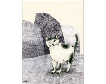 Cat ACEO mixed media Original - Iwabanoneko