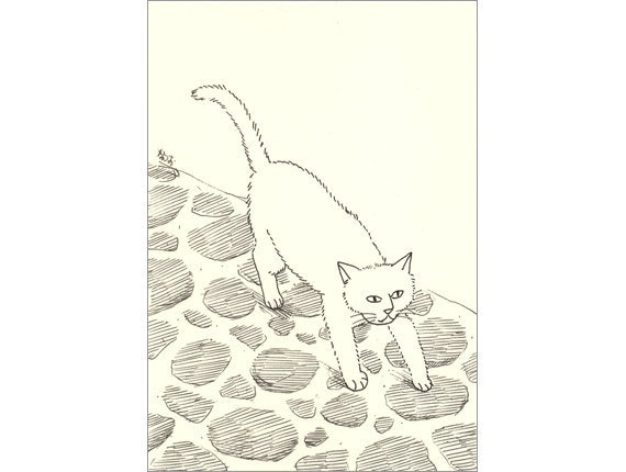 Original ACEO card - Stone-paved road