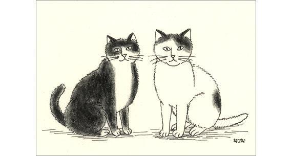 Cat ACEO Original - B & W