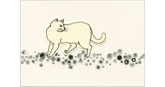 Cat ACEO drawing and collage Original - Circles 3