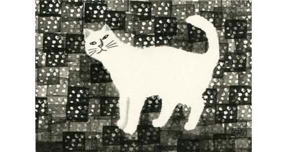 Cat ACEO mixed media Original - Butsubutsunohaikeitoneko