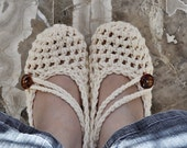 Crochet Mary Jane Slippers Women's Cream