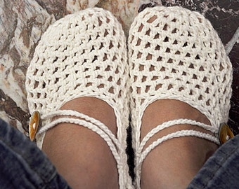 Off White Crochet Mary Jane Slippers With Strap And Button - Gift For Her - Choice Of Trending Colors