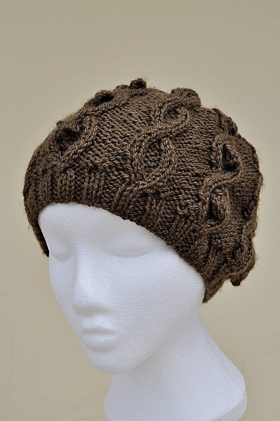 Brown Cable Knit Slouchy Hat With Bobbles - Slouchy Knit Hat - Knit Cable Hat