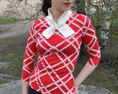 Pin up shirt, red and white nautical knit shirt with white collar and anchor pin, XLarge