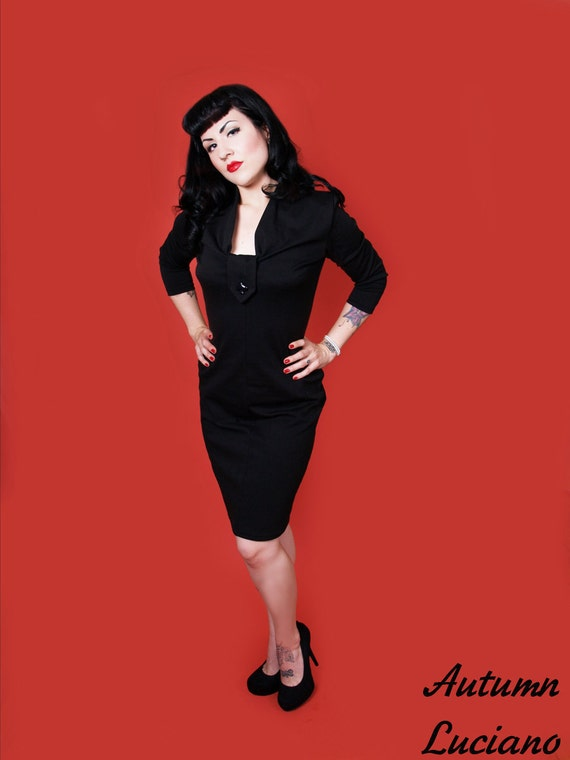 Black wiggle dress with gathered collar and a heart button, thick jersey fabric, Made to order sizes XS to XL