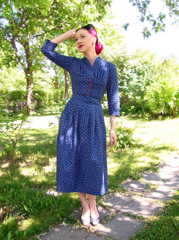 Reserved for Sarah SALE 40s style dress in navy blue cotton with cherries print, US 6