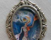 Galactic Goddess Art Tile in Vintage Setting, Pendant Necklace