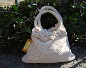 Natural white cotton knitted bag with crochet flowers ready to ship