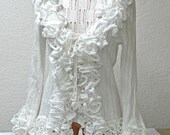 White ruffled women fashion cotton silk  tweenset -top and jacket