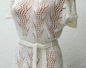 White silk lace handknitting tunic L