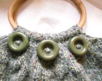 Hand Knitted Handbag, Small Recycled Handbag, Green knitted Bag