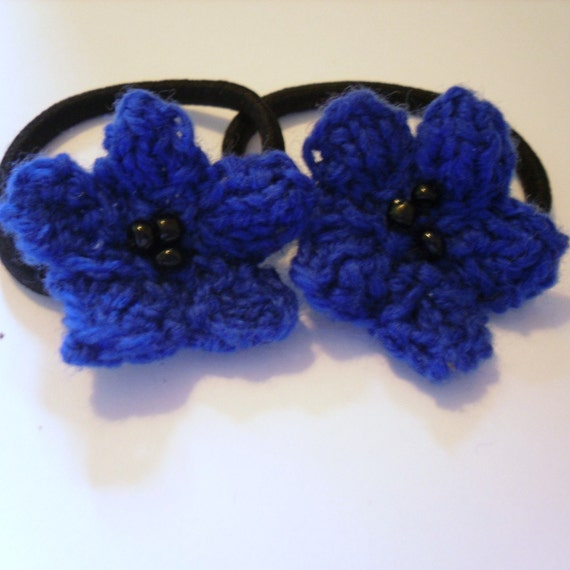 Hand Knitted Hair Ties, Blue Flowers Hair Accessories