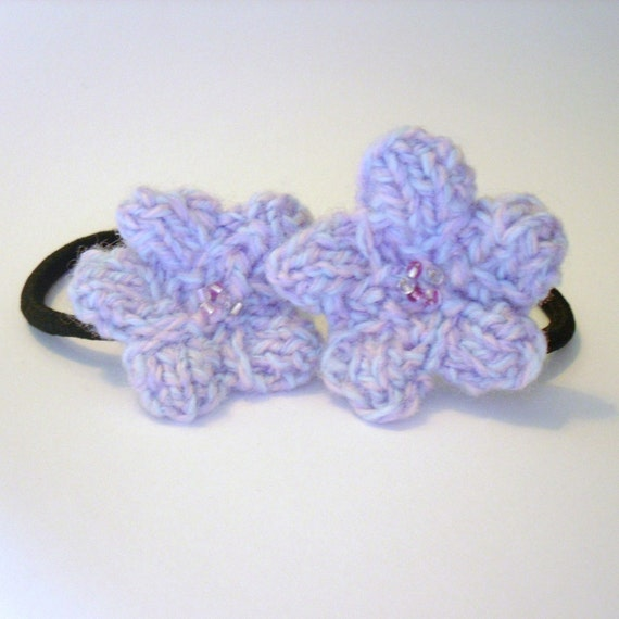 Hair Accessories, Lilac Flower Hair Ties