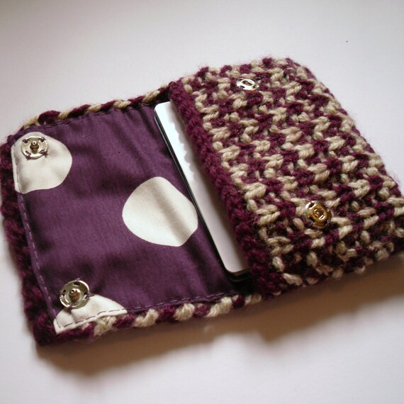 Knitted  Coin Purse Purple and Cream coin purse