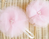 Reserved Listing for Karina- One Pink Tulle Flower on Ivory Headband and One Pink Tulle Flower on Alligator Clip