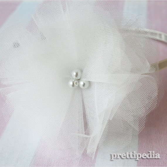 Flower Girl Headband-Ivory Tulle Flower with Metal Headband-Perfect wedding accessories