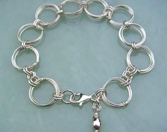 Silver Circles Bracelet Silver Rings Bracelet Wire Jewelry Large Link Chain Bracelet Meditation Jewelry