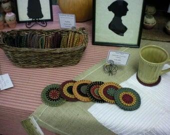 5 inch Penny Stitch Wool Felt Coasters Set