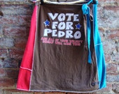 Womens Wrap Skirt/ Vote for Pedro Upcycled T shirt Skirt/ Womens Eco Skirt/ Kitsch/ fourth of July