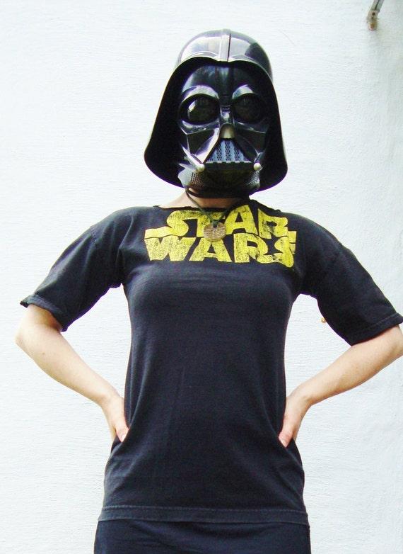 STAR WARS/ T Shirt Tunic Dress/ Black and Gold/ Womens Tunic Dress