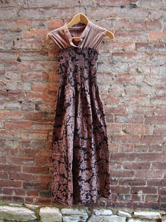 Womens Dress/ Upcycled Womens Dress in Taupe and Black/ Eco Clothing/Tunic Style dress