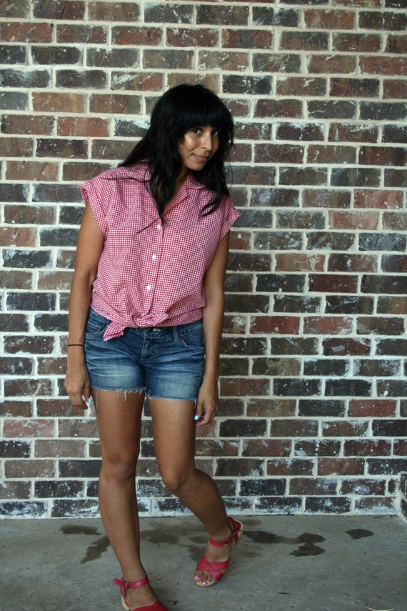 Women 39 s vintage red and white gingham shirt for Pink gingham shirt ladies