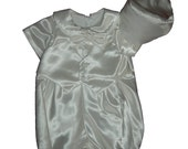 Boys White Satin Christening Boutique Outfit with Bowtie