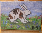 Brown and White Bunny Original Mini Painting